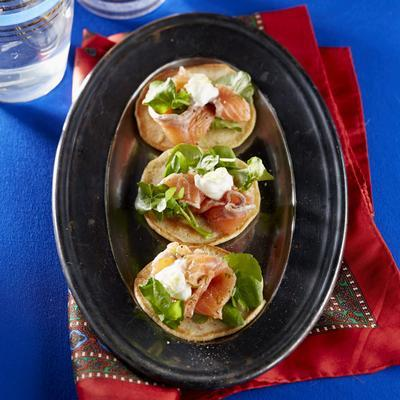 blini with salmon and watercress
