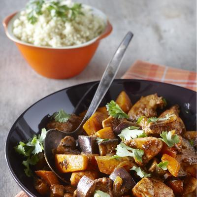 stir-fried chicken fillet with pumpkin and eggplant