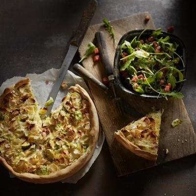 sprout cake with almond and goat cheese