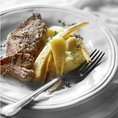 roasted lamb chops with parsnips and thyme