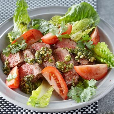 steak with coriander cashew pesto