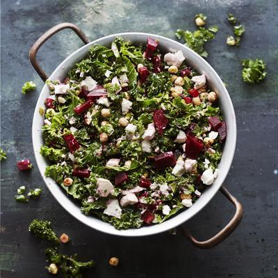 winter farmer's cabbage salad with beetroot and hazelnuts