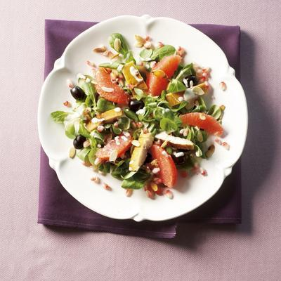 red grapefruit salad with smoked fish