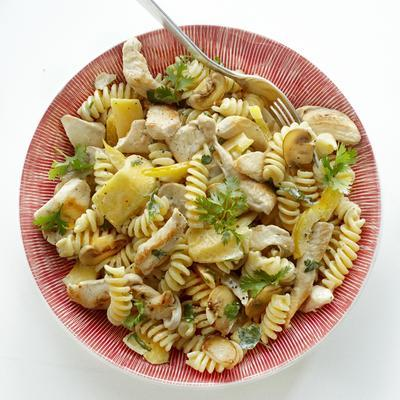 pasta salad with chicken, mango and mushrooms