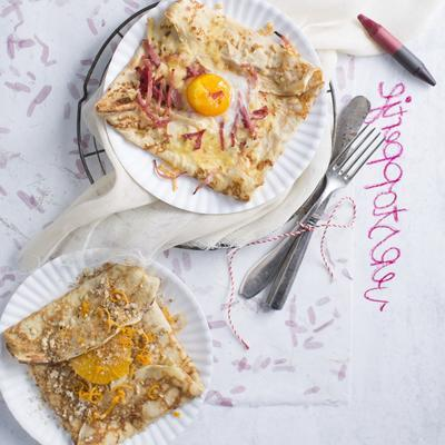 pancakes galette with ham and fried egg