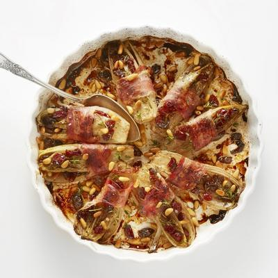 braised chicory with pancetta and cranberries