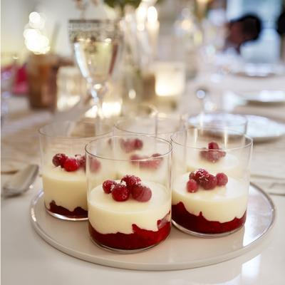 white chocolate mousse with cranberry and pear