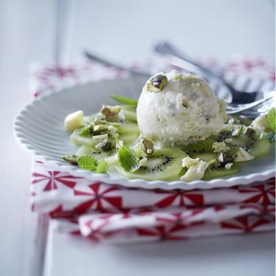 ice cream dessert with kiwi