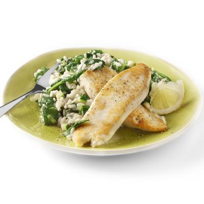 tilapia with spinach risotto and goat cheese