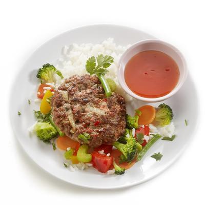 oriental burgers with chili sauce
