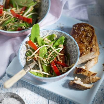 pea pods from the wok with sesame dressing