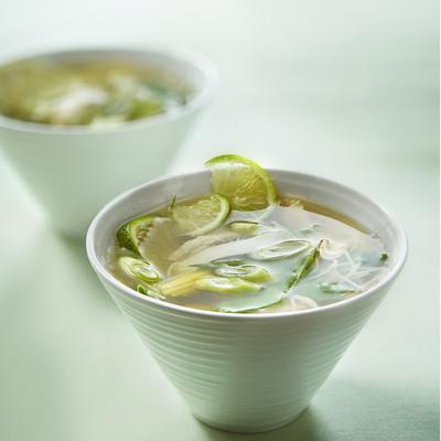 oriental chicken soup with lime and noodles
