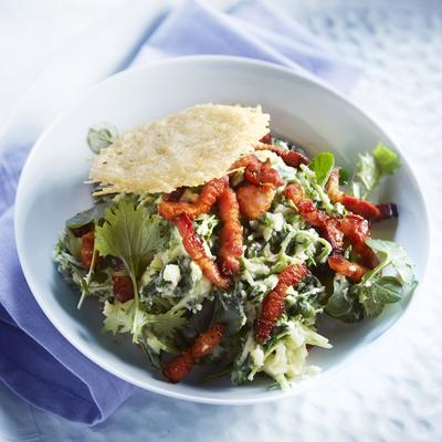 rapeseed stew with watercress and cheese wafers