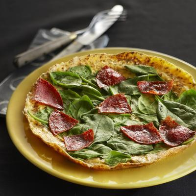 spinach omelet with salami