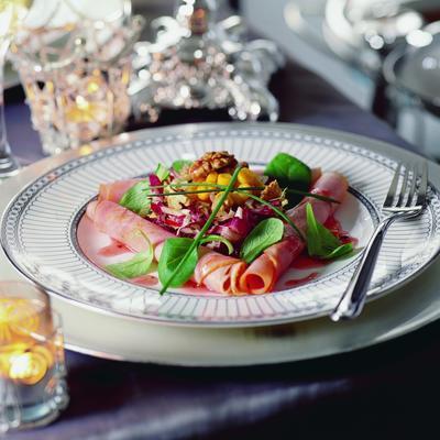 leg ham salad with raspberry nut dressing