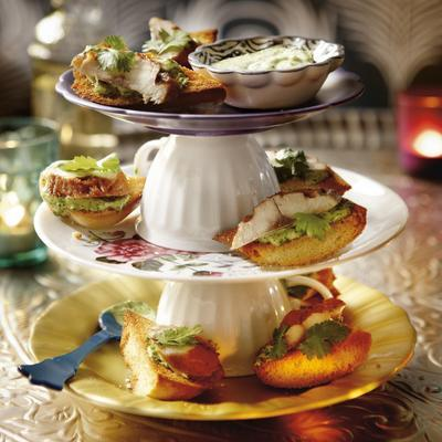 bruschetta with coriander-aioli and mackerel