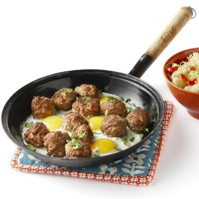 Mediterranean meat dish with egg and couscous