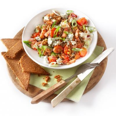 lentil salad with bacon and gorgonzola