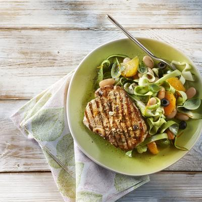 marinated pork chops with fresh salad