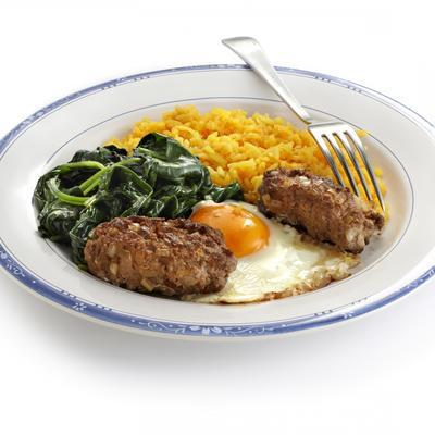 mince trolleys with spinach and yellow rice