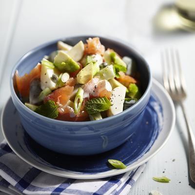 fresh potato salad with smoked salmon