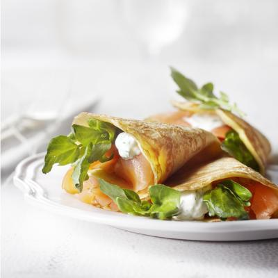 pancake with arugula and smoked salmon