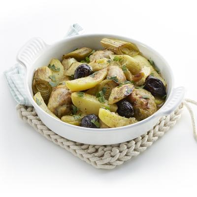 drumsticks with leeks and plums