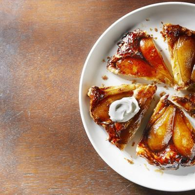 tarte tatin with pear and salted caramel