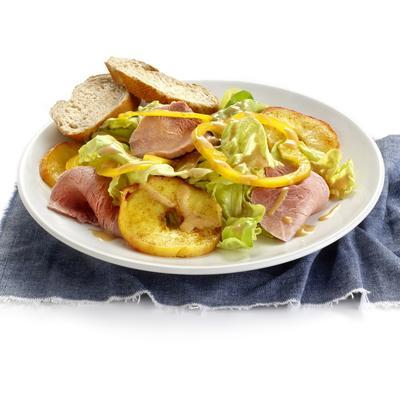 leg ham salad with warm apple and curry dressing