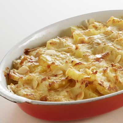 potato gratin with almond and gruyere