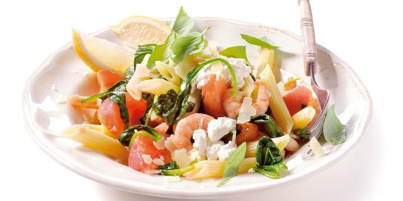 penne with shrimps and spinach