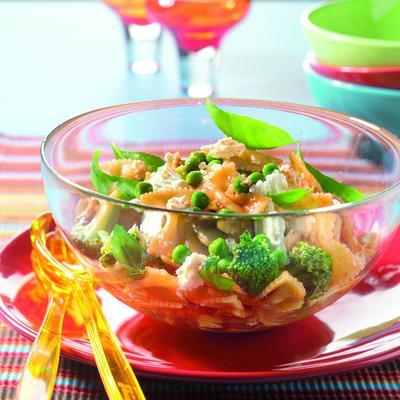 pasta salad with broccoli and goat cheese
