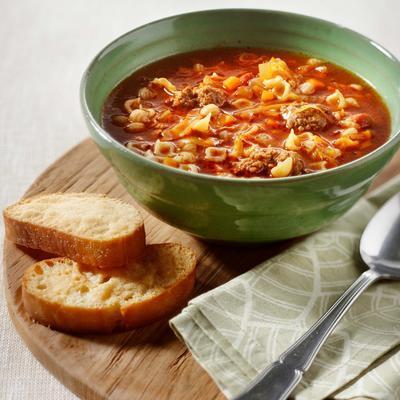 Italian vegetable soup with parmesan balls
