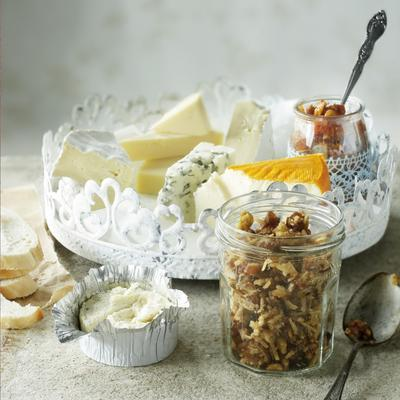 French cheese with date-nut tapenade and fig chutney