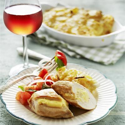 chicken fillets with camembert and potato gratin
