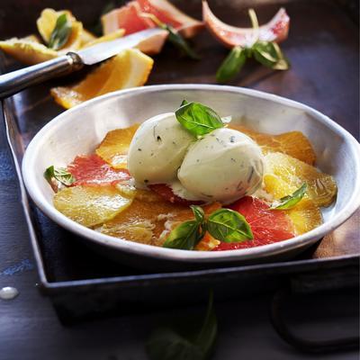 citrus carpaccio with basil ice cream
