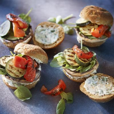 portobello burger with grilled vegetables and basil mayonnaise