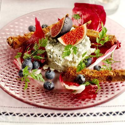 blue cheese mousse on herb salad