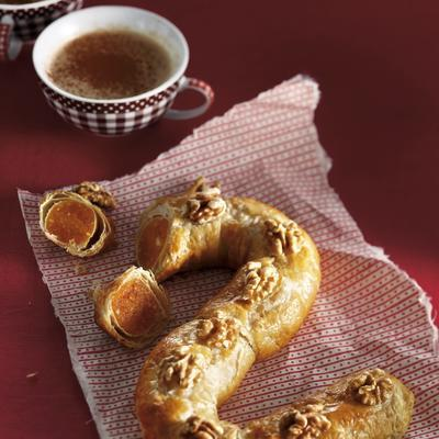 pastry letter with apricot food