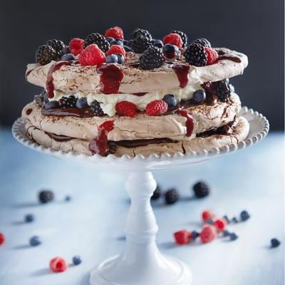 chocolate pie with berries and blackberries