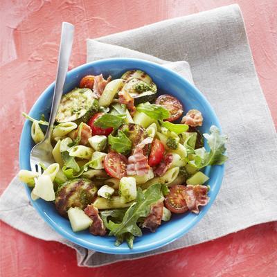 pasta salad with zucchini, feta and melon