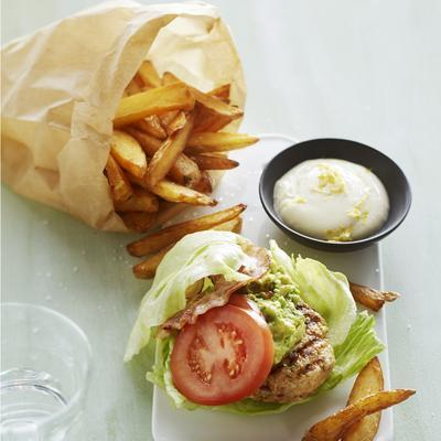 chicken burger with bacon and guacamole