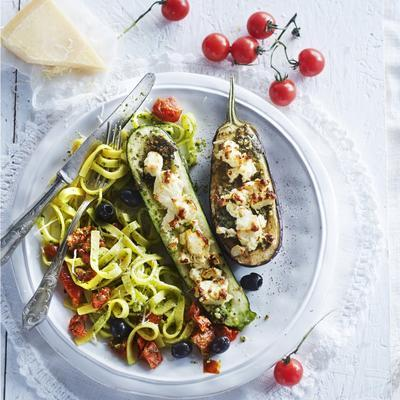 stuffed vegetables with walnut pesto and feta