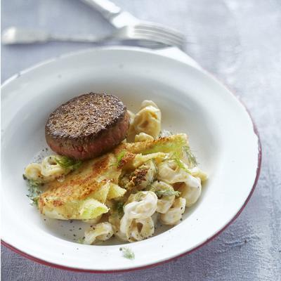tartar with fennel and tortellini
