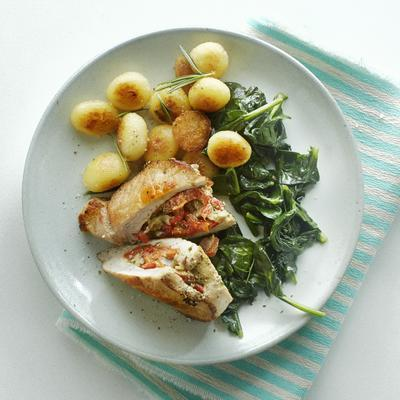 stuffed pork fillet with spinach and rosemary balls