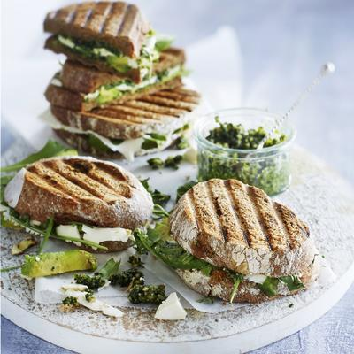 toasted sandwich with avocado, feta and pesto