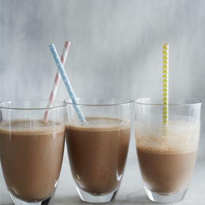 almond milkshake with chocolate and banana