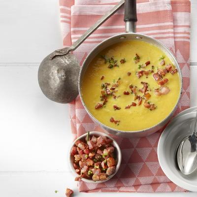 sweet-potato soup cheese-onions bread