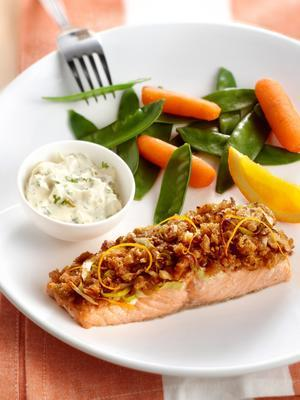 salmon with leek and nuts