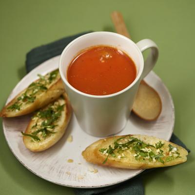 tomato soup with meatballs and coriander garlic bread